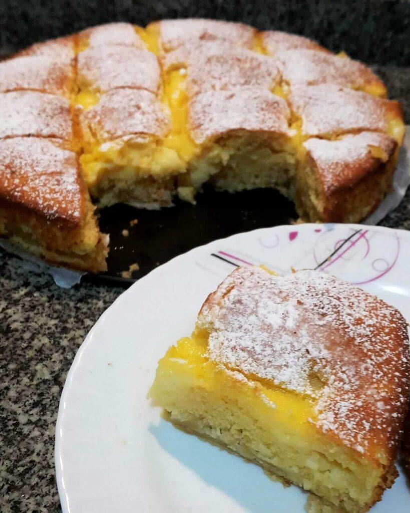 yağsız elmalı muhallebili kek